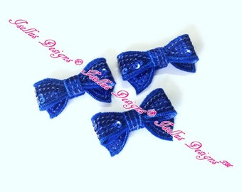 "1.4"" Royal Blue Mini Sequin Bow"