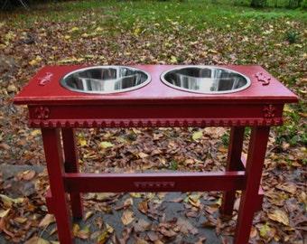 Dog Bowl, Dog Feeder, Raised Dog Bowl, Pet Bowl, Elevated Dog Feeder, Raised Feeding Stand, Colonial Red, 2 Three Quart Bowls, Made to Order