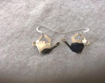 Water Can Earrings, Sterling Silver, Garden Earings, Gardener Earrings, Silver Water Cans, Occupational Earrings, Polished Silver, Dangle
