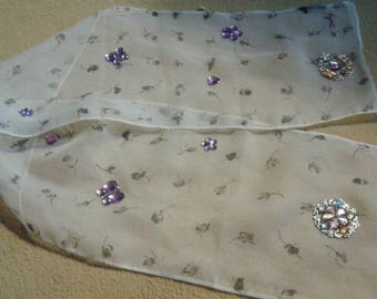 White scarf with purple flowers veil decorated with Rhinestones