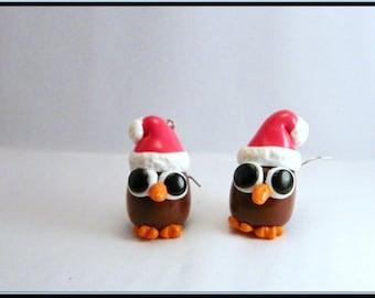 Little OWL Christmas polymer clay stud earrings.