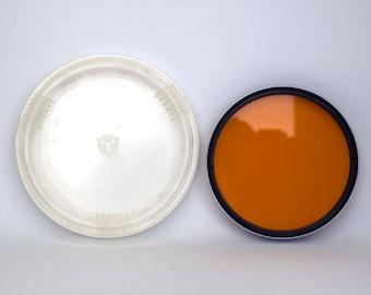 LZOS 0-2,8x 52x0,75 Orange Lens Filter in Case - Soviet Vintage 52mm Orange Lens Filter for Photography