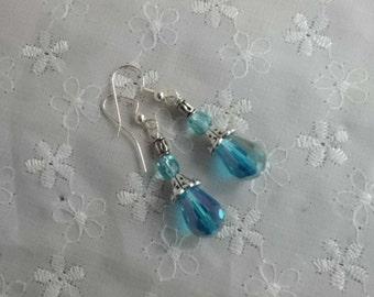 Crystal Drop Earrings, Ice-Blue Crystal Earrings, Silver and Blue Earrings, Ice Princess Earrings, Handmade Wire Wrapped Ice Blue Earrings