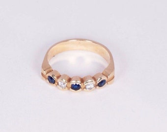 14K Yellow Gold Sapphire and Diamond Ring, size 6.25