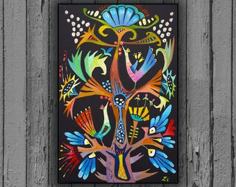 Tree of life Folk art painting Oil paintings on canvas black color painting  original Abstract art Oil paintings Original oil painting folk