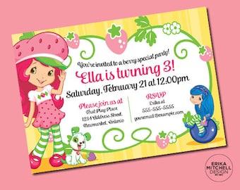 Strawberry Shortcake Birthday Invite // DIGITAL FILE // CUSTOM Birthday Invitations