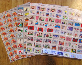 Season's Greetings 301 Vintage Christmas Seals 6 Full Sheets Holiday Stamps Contemporary Abstract Traditional 1990s American Lung Assoc