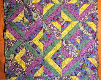 Baby quilt, purple and green modern