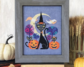 Halloween Cat - printed version - Satsuma Street modern cross stitch pattern