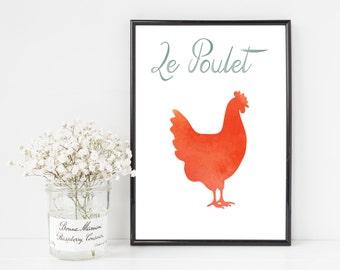 Le Poulet French Chicken 8x10 Printable Art Farm Kitchen INSTANT DOWNLOAD
