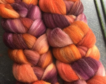 Targhee Bamboo and Silk Combed Top Roving Sunset Colorway