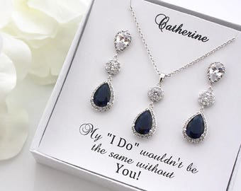 Tiffany - Sapphire Blue Wedding Earrings, Bridal Earrings + Necklace SET, Crystal Teardrop Earrings, Bridesmaids Gift, Bridesmaid Gift Set