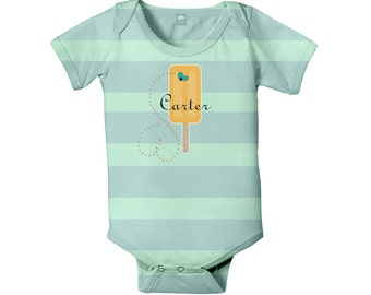 Ice Cream Bodysuit, Personalized Baby Boy One-Piece Popsicle Outfit