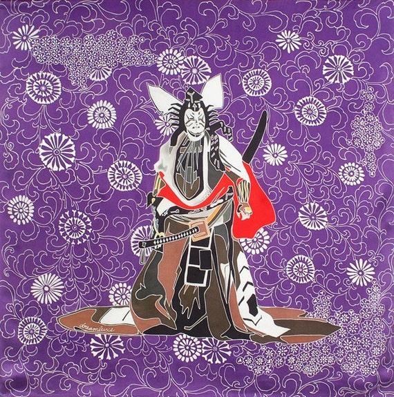 Japanese Samurai and flowers large square purple silk scarf