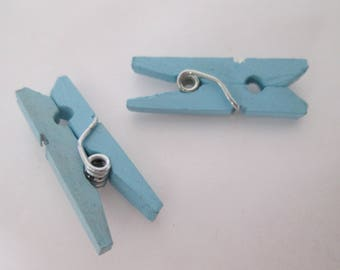 x 10 linen wooden clothespins painted 26 x 8 x 3 mm blue