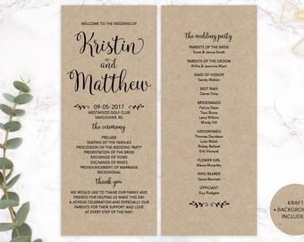 Kraft Paper Wedding Program, Printable Wedding Program, Custom Wedding Program, DIY Wedding Program, Wedding Ceremony Program