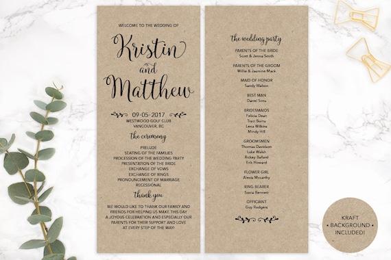 Kraft Paper Wedding Program Printable Custom