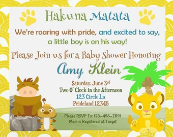 Lion king baby shower invitations custom baby shower lion king baby shower invitation filmwisefo Images