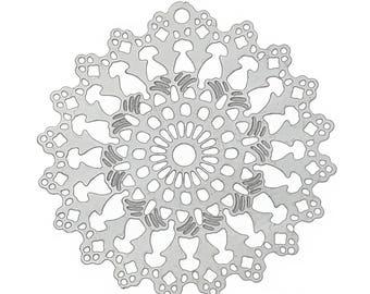 Set of 10 prints charm filigree silver 26x25mm steel SC59518