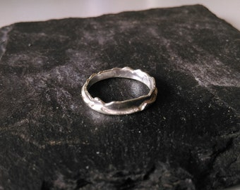 Silver Layered Sheet Band Ring, Rustic Style, Handmade.