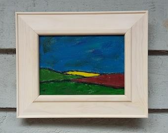 "Original Acrylic Landscape Painting 10""x8"" Art, Naive Painting in Acrylic Original Abstract Landscape Expressionism Canvas Board Artwork"