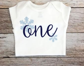 Navy and Light Blue Snowflake Winter Wonderland Birthday Shirt (Customizable Colors), Winter Onederland First Birthday Shirt