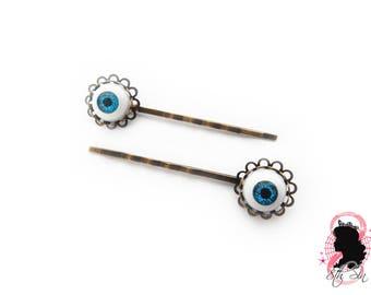 Antique Bronze Eyeball Hair Slides, Evil Eye Hair Slides, Doll Eye Hair Slides, BJD Eye Hair Slides, Eyeball Hair Grips, Eye Hair Grips