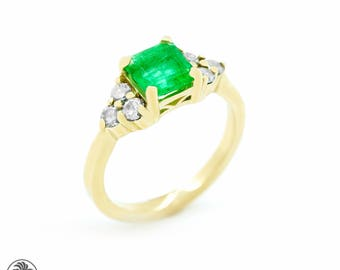 Emerald Ring, Yellow Gold Ring With An Emerald, Emerald Cut Engagement Ring With Diamonds, Simple Emerald Cut Emerald Ring| LDR02502