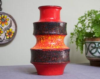Scheurich Vintage West German Ceramic Fat Lava Red and Orange Pagode Vase 267-25 - UK Seller