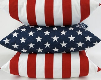 Stars and Stripes Pillow Covers -MANY SIZES- Set of Three - American flag patriotic Euro Sham red white blue July 4th decorative throw