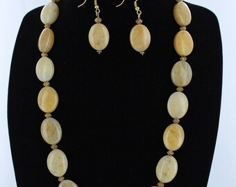 Yellow Jade Necklace with Matching Earrings