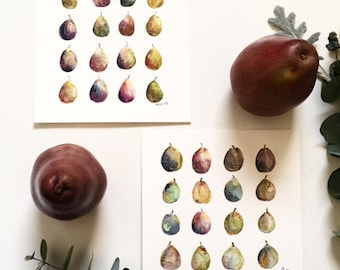 Pears and Plums Original Watetcolor with gold foil