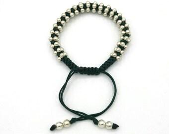 Black Friday Special: 50% Off Stirling Silver bracelet with black or green drawstring