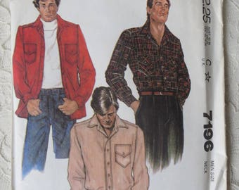"""McCalls 7196 Sewing Pattern Button Down Loose Shirt Size Mens 38"""" Chest OOP 1980"""