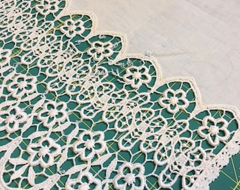 Vintage floral/gothic whitework table cover