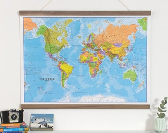 Glow in the dark world map home decor bedroom living political map of the world front sheet lamination home wall hanging gumiabroncs Gallery