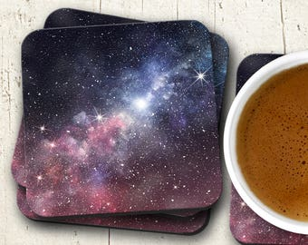 Starry Nebula Coaster Set - Galaxy Coasters - Housewarming Gift