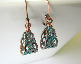 Patina Teardrop Earrings - Turquoise Patina on Copper Filigree Teardrops