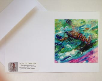 Greeting Cards Handmade - Lobster at Sea #3 - Photo of Original Maine Lobster Acrylic