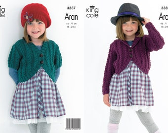 Girls Cabled Cardigans - King Cole Aran Knitting Pattern 3387