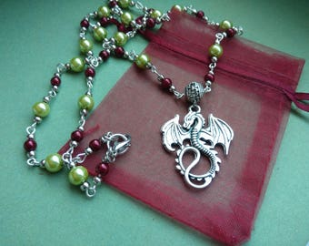 Beaded dragon necklace - mythical creature pendant red and green hand beaded chain