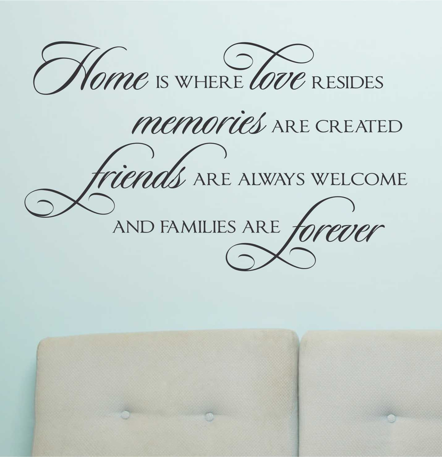 Family Is Forever Quotes Home Love Resides Quote Vinyl Wall Lettering Vinyl Decals