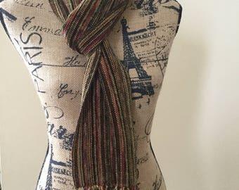 Handwoven Rayon Chenille Scarf - Autumn tones