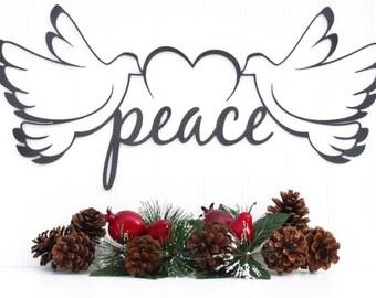 Christmas Peace Doves Metal Sign - Silver, 19x9, Christmas Decorations, Christmas Gifts, Xmas Decorations, Christmas