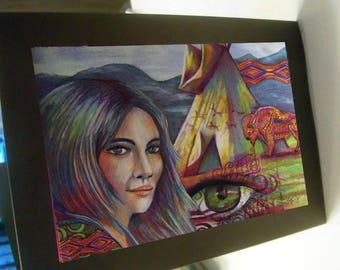 greeting card print of original art-  she sees tepee buffalo native american
