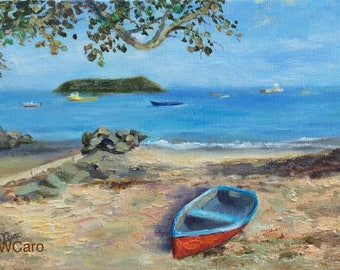 Boat oil painting, Vieques, Puerto Rico
