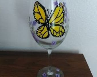 Bring on Spring Buttefly Wine Glass