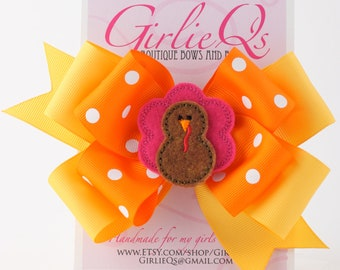 "Turkey Hair Bow Hair Clip for Thanksgiving Fall Autumn 6"" x 5"" Pink and Brown Embroidered Halloween"
