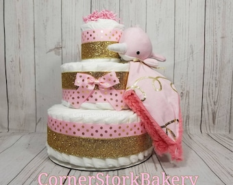 Narwhal Diaper Cake| Pink Baby Gift| Nautical Diaper Cake| Pink Nautical Centerpiece| Pink Diaper Cake| Girls Baby Shower| Baby Shower Gift