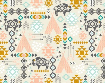 Southwest Teepee Fabric by the Yard Cotton Quilting Fabric Organic Cotton Minky Knit Aztec Tribal Bison Nursery Childrens Fabric 4083464